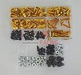 LoveMoto Kit vite, bullone, carenatura complete da moto, per ZX6R ZX-6R Ninja 636 2005 2006 clip dell'elemento di fissaggio con viti in alluminio D'oro Argento