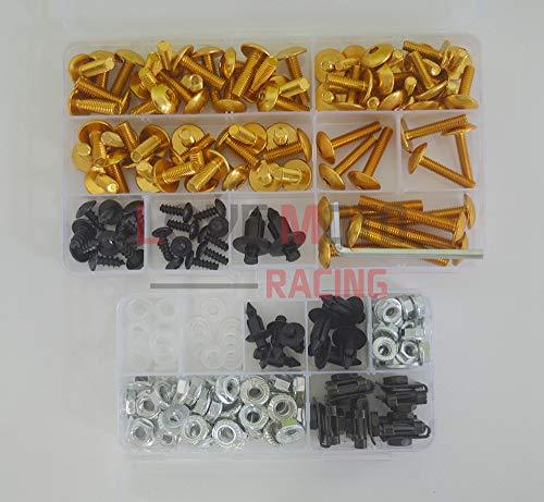 LoveMoto Juegos completos de Tornillos y Tuercas de carenado para CBR 600 RR F5 03 04 CBR 600 RR F5 2003 2004 Clips de fijación y Tornillos de Aluminio Dorado Plata