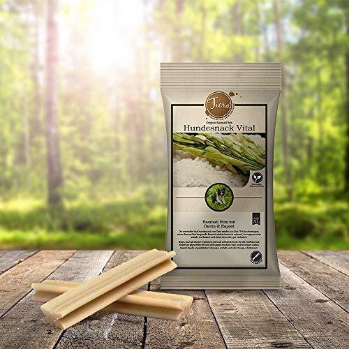 Tiera Vital vegane Hunde Leckerlies Basmati Reis Snack XL mit Biotin und Rapsöl, 3 Stück, 210 g