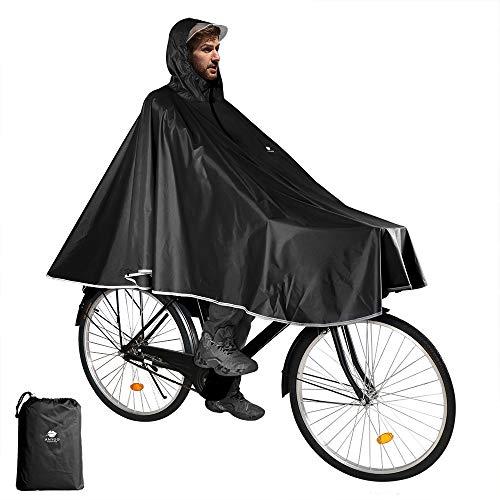 Anyoo Wasserdicht Radfahren Regen Poncho Portable Leichte Regenjacke Mit Kapuze Fahrrad Fahrrad Compact Regen Cape Wiederverwendbare Unisex für Backpacking Camping Outdoors,Einheitsgröße,Schwarz