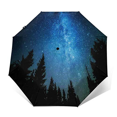 Paraguas Plegable Automático Impermeable La Vía Láctea se eleva, Paraguas De Viaje Compacto a Prueba De Viento, Folding Umbrella, Dosel Reforzado, Mango Ergonómico