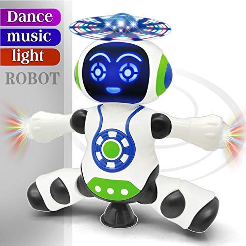 FunBlast Dancing Robot with Music, 3D Flashing Lights,360 Degree Rotation Toy Robot for Kids/Boys -Plastic, Multi color (Battery Included)-Pack of 1