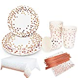 White and Rose Gold Party Supplies Set Serves 20- Rose Gold Dot 20 Dinner Plates,20 Dessert Plates,20 Cups 20,Napkins,20 Straws,2 tablecloth for Wedding Bridal Shower Engagement Birthday Parties