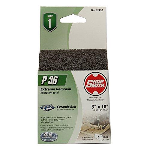 "36 Grit Ceramic Sanding Belts (1 Pack), 3"" x 18"" - Shopsmith 12230"