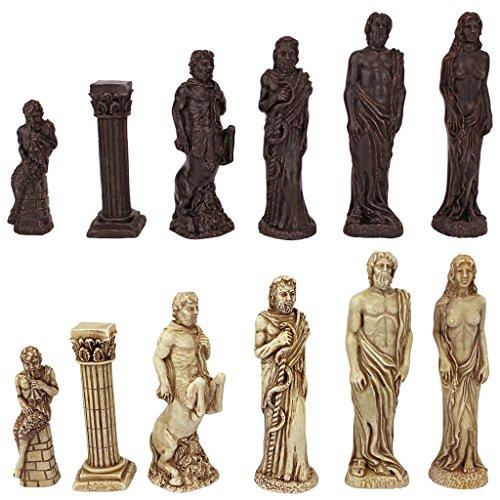 Design Toscano WU05560 Gods of Greek Mythology Chess Set: Pieces Only,Two Tone Stone