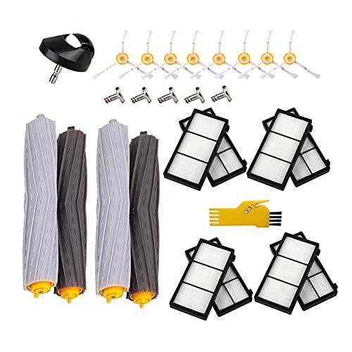 Laimaiou Kit de accesorios para iRobot Roomba 981966971980896890880871870860805 Piezas de repuesto para robot aspirador 19 paquetes de extractores, filtros, cepillos laterales y rueda delantera
