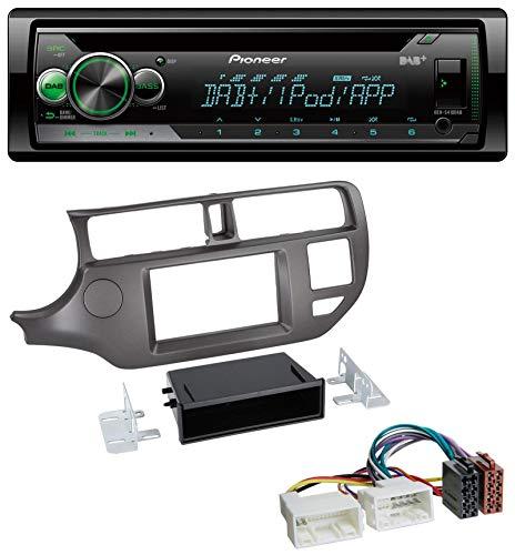 caraudio24 Pioneer DEH-S410DAB USB MP3 DAB AUX CD Autoradio für Kia Rio UB 2011-2014 anthrazit