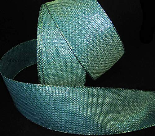 5 Yds Peacock Blue Green Teal Mermaid Iridescent Wired Ribbon 2 1/2'W