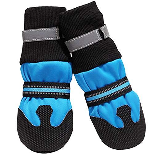 Dog Shoes Pfotenschutz - Hundeschuhe Hundestiefel Anti-Rutsch Atmungsaktiv Haustier Schuhe Warm Mit Klettverschluss für Mittlel und Große Hunde Blau Rot