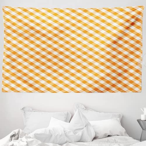 ABAKUHAUS Orange & Weiß Wandteppich & Tagesdecke, Vichy-Karos, aus Weiches Mikrofaser Stoff Wand Dekoration Für Schlafzimmer, 230 x 140 cm, Orange & Weiß