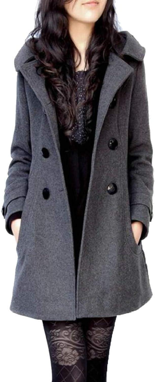 GAGA Women's Double Breasted Lapel Hooded Woolen Overcoat Pea Coat