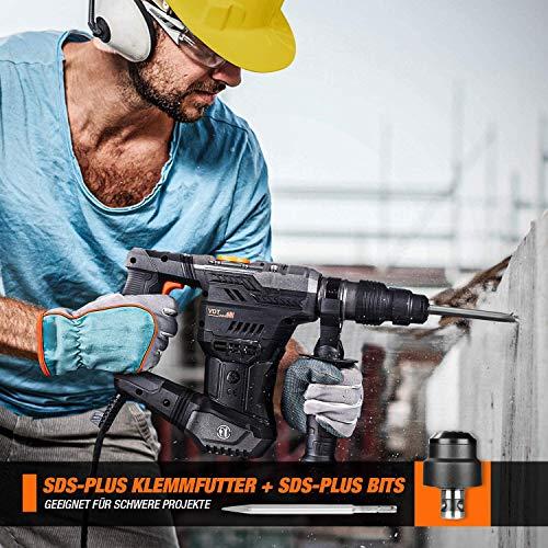 Martillo percutor, martillo perforador, 5J energía de impacto, TACKLIFE, SDS Plus Mandril, 4 Funciones in 1 con embrague de seguridad, utilizado para concreto, metal y piedra - TRH02A