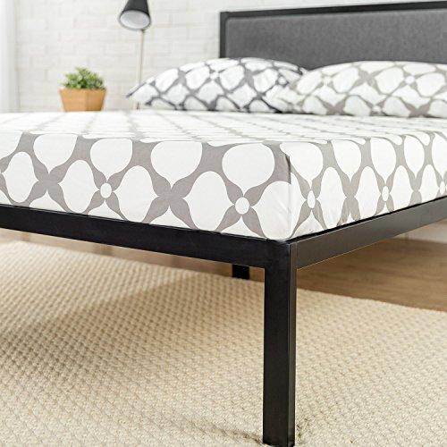 "Zinus Korey 14"" Steel Platform Bed Frame with Upholstered Headboard and Wood Slat Support, King"