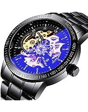 67814a2866e0 腕時計, メンズ腕時計、ラグジュアリークラシックステンレスメカニカルウォッチスケルトンビジネスカジュアルウォッチメンズ防水