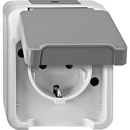 Merten MEG2300-8029 SCHUKO-Steckdose mit erhöhtem Berührungsschutz, lichtgrau, AQUASTAR, Grau