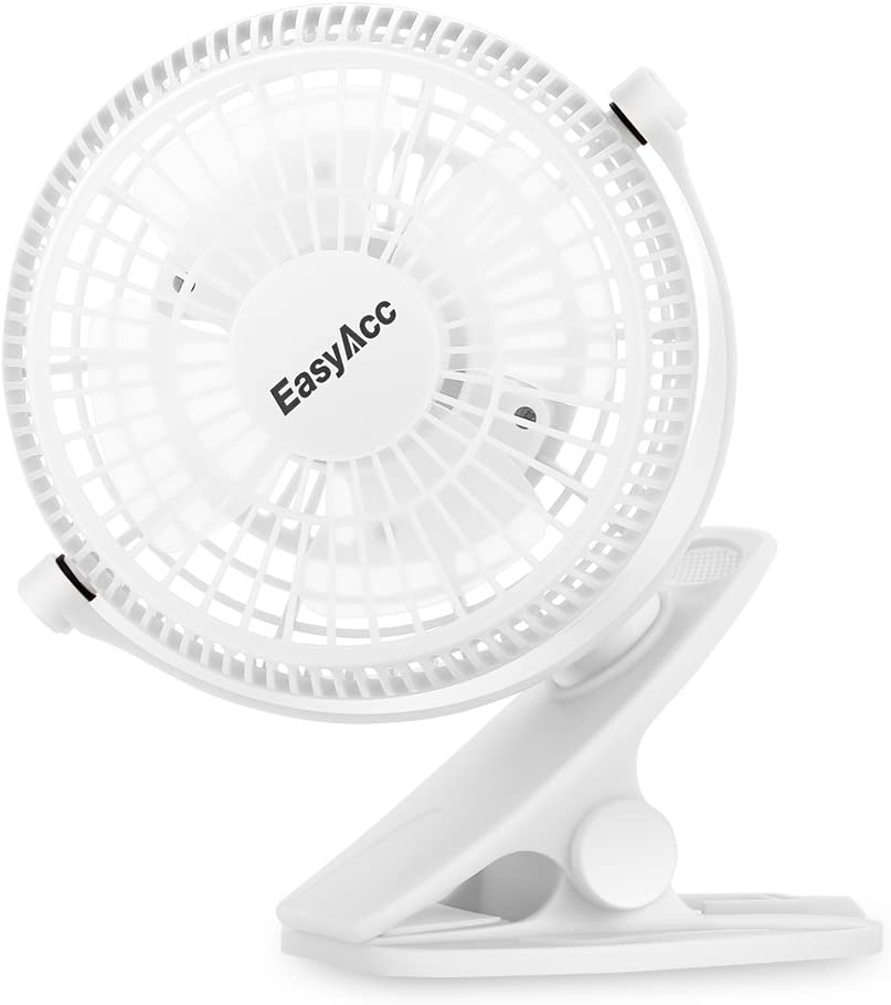 Baby Stroller Cooling Fans, EasyAcc USB Clip Fan for Strollers 720 Degree Rotation Mini Desk Fan Strong Wind Portable Fan 2 Speeds Personal Cooling Fan for Crib Home Office Camping Outdoor White