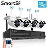 SmartSF 8CH 720P WLAN Überwachungskamera Set mit HD NVR Kit WiFi Surveillance Systems,4x1.0 MP Megapixel Wetterfestes Wireless Outdoor Bullet IP Kameras,P2P,65ft Nachtsicht,Keine HDD