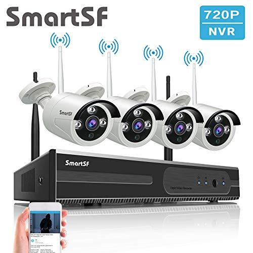 SmartSF 8CH 720P WLAN Überwachungskamera Set mit HD NVR Kit WiFi Surveillance Systems,4x1.0 MP Megapixel Wetterfestes Wireless Outdoor Bullet IP Kameras,P2P,65ft Nachtsicht,Keine HDD