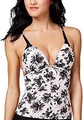 Hula Honey Juniors' Push-Up Tankini Top Soft Peach/Black XL