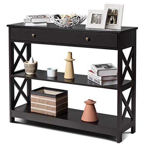 COSTWAY 3 Ebenen Konsolentisch mit Schublade, Flurtisch aus Holz, Standregal, Beistelltisch für Eingang, Wohnzimmer und Schlafzimmer, 100 x 30 x 80 cm (Braun)
