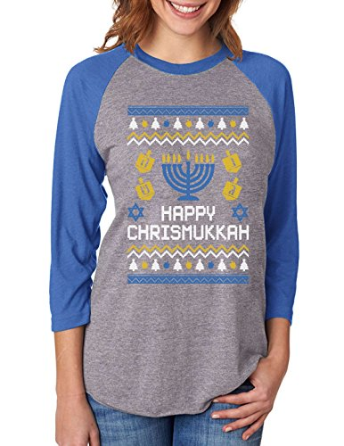 Tstars Happy Chrismukkah Ugly Xmas Hanukkah 3/4 Women Sleeve Baseball Jersey Shirt Medium Blue/Gray
