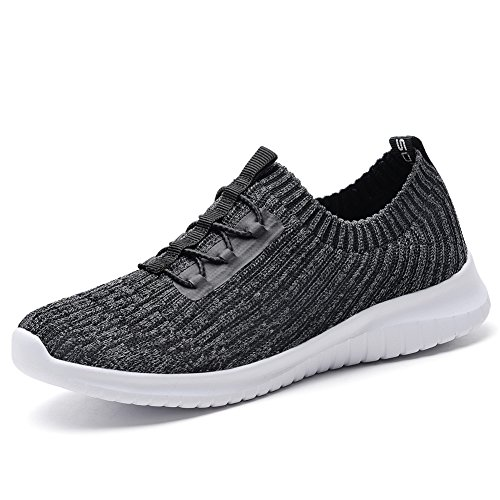 TIOSEBON Women's Lightweight Casual Walking Athletic Shoes Breathable Running Slip-On Sneakers 5 US Deep Gray