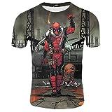 LeeQn 3D Anime Herren-T-Shirt, kurzärmlig, Cartoon Deadpool (XS-3XL) S as pic