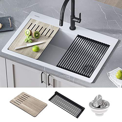 Kraus KGTW1-33WH Bellucci Granite Composite Single Bowl Drop-In Kitchen Sink with Accessories, White