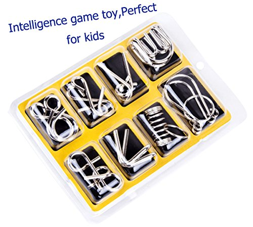 IQ Toys,EasyULT IQ Test Mind Game Toys Brain Teaser Metal Wire Puzzles Magic Trick Toy,Metal puzzle(8 Pack)