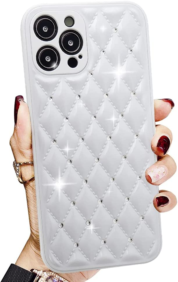 LINYUNE for Cute Sparkle Diamond iPhone 12 Pro Max Case Bling, [Full Camera Lens Protection] [Hard PC Cover] [Soft TPU Bumper] Shiny Crystal Glitter Phone Case 6.7 inch (White)