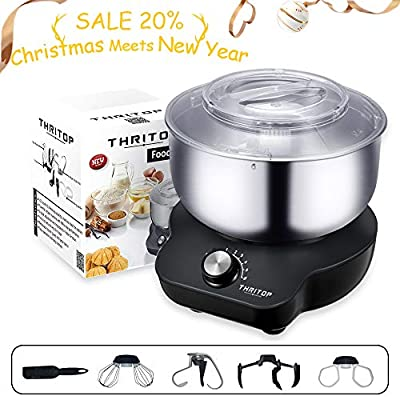 THRITOP Stand Mixer Food Mixers, with 5QT Mixing Bowl for Bread and Dough, Electric Mixer with Dough Hook, Whisk, Cookies Paddles and Spatula – 6 Speed Settings, 600 W New Concept Food Mixer(Elegant Grey)