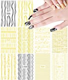 Metallic Nail Art Stickers 3D Nail Decals Gold Line Star Nail Stickers for Acrylic Nails Self Adhesive Luxury Nail Foil Black Gold Nail Designs Sticker Chains Lines Wave Curve Stripe Shapes (10 Pcs)