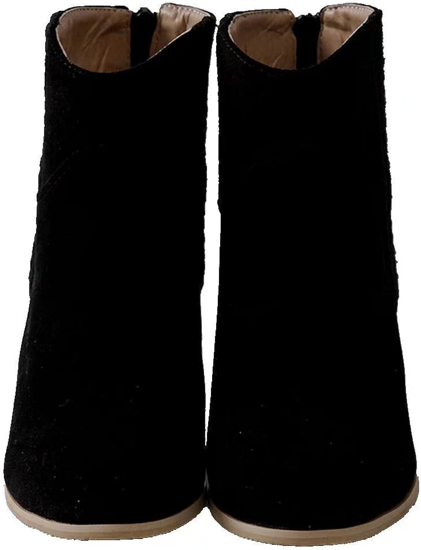 KingRover Women's Block Heel Closed Toe Zipper Casual Dress Ankle Boots