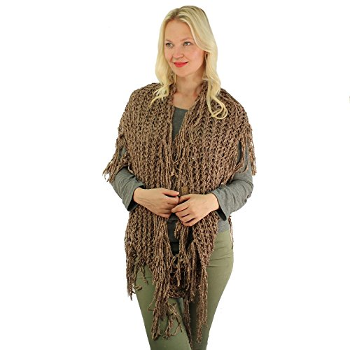 CC BEANIE Winter Soft Chenille Net Tassle Fringe Thick Knit Infinity Scarf Wrap Taupe