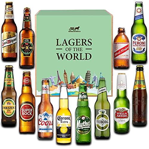 Lagers Of the World - case of 12 bottled beers An ideal beer gift for men and women - by Traditional Beer Company
