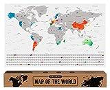 envami Mapa Mundi Rascar I Mapas del Mundo para Marcar Viajes I 68 X 43 CM I Plata I Scratch Off Travel Map