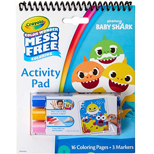 Crayola Baby Shark Color Wonder Travel Activity Pad, Mess Free Coloring, Gift for Kids, 3, 4, 5, 6