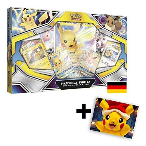 Pokemon Karten Sonne & Mond Pikachu-GX & Evoli-GX Spezial-Kollektion / Spielkarten DE Deutsch / Sammelkarten + 1 GRATIS Grußkarte Weihnachtspikachu