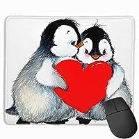 かわいいペンギンと赤いハート マウスパッド 25x30cm レーザー&光学マウス対応 防水/洗える/滑り止め 中型 ブラック