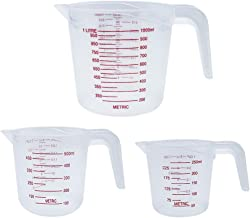Plastic Measuring Cup, Measuring Cup Set of 3 BPA-free Stackable Clear Heat-resistant with Angled Grip and Spout for Flour...