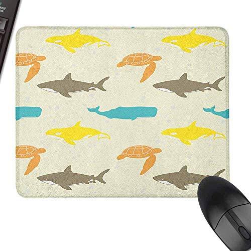 Polyester Stoff Mauspad Meerestiere Muster mit Walhai und Schildkröte Aquarium Doodle Style Meereslebewesen für Büro, Spiele, Lernen Elfenbein Taupe Pfirsich