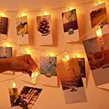 THE TWIDDLERS 40 LED Photo Clips, Guirlande Lumineuse Blanc Chaud, SiFar 5M 3 Modes Photo Chaîne Légère avec Batterie, pour Mémos Photo, Oeuvres, Fête, Décoration, Mariage