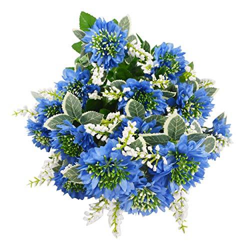 Herran Gypsophila Blumenstrauß, realistischer künstlicher Blumenstrauß, Seide, Brautstrauß, Tischdekoration für Zuhause, Büro, Gartenpartys blau