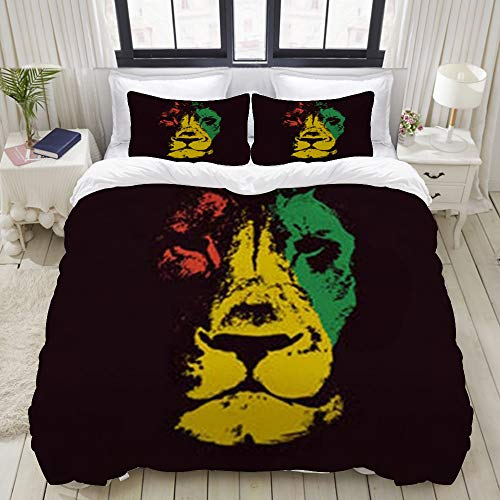 Ropa de Cama - Funda nórdica Green Marley Lion Head Rasta Red Bob,Microfibra Nuevo Set de Tres...