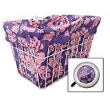 Cruiser Candy Bicycle Basket Liner & Tote in One, Stylish Bike Basket Liner, Yoga Bag,Gym Bag,Beach Bag. Matching Bicycle Bell Included, Bike Bell (Pink Purple Hibiscus)