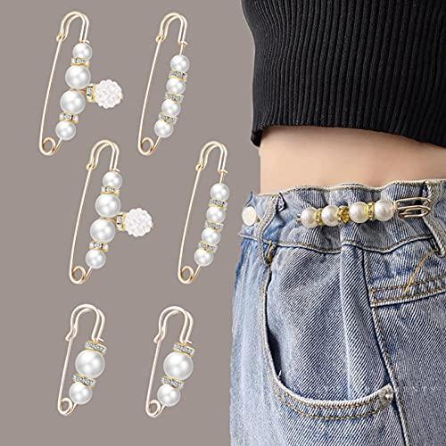 XFSSFWB Hose Größenänderung Perle Pin, Damenmode Elegante Einstellbare Perle Brosche Temperament Diamant Brosche Schnalle Set, Anpassen Kleidung Schal Strass Anstecknadeln (Color : 6)