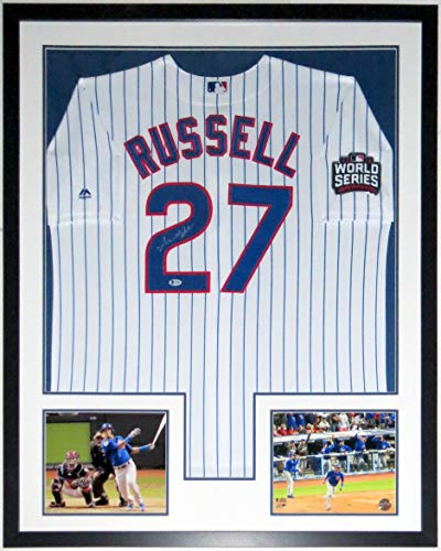 Addison Russell Signed Majestic Chicago Cubs 2016 World Series Jersey - Beckett Authentication Services BAS COA Authenticated - Professionally Framed & 2 8x10 Photo & Patch 34x42