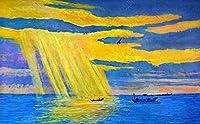 壁の壁画 壁紙 ウォールカバー 海の太陽の油絵スタイル 壁画 壁紙 ベッドルーム リビングルーム ソファ テレビ 背景 壁 壁面装飾のための,350x250cm
