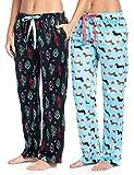 Ashford & Brooks Women's Plush Mink Fleece Pajama Sleep Pants 2 Pack - Set 2 - Boho Feather/Dachshund Dog Lover - 3X-Large