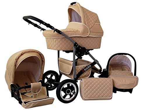 Lux4Kids Q Baro 3 in 1 Cochecito Combinado (asiento del coche incluye adaptadores, cubierta para la lluvia, mosquitero, ruedas giratorias 9 colores) 03 crema